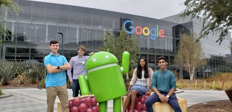BizTech's Eboard at the Google Campus in Mountain View, CA. The Android Statue features the latest version of Android operating system, Android Pie.