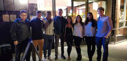 BizTech's Eboard reunites with two previous club presidents - Adam Whitaker and Michelle Foun.