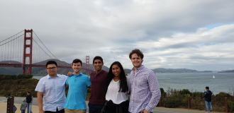 BizTech's Eboard in front of the Golden Gate Bridge during a visit to California for the Silicon Valley Innovation and Entrepreneurship Forum.