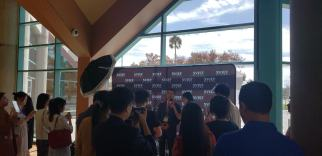 Speaker being interviewed by journalists at the Silicon Valley Innovation and Entrepreneurship Forum.