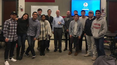 BizTech members met with Dean Freeman to discuss the Digital Matrix, a book about the future of the digital age written by Questrom professor Venkat Venkatraman
